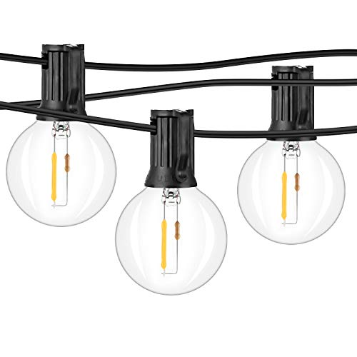 2-Pack 36FT LED G40 String Lights with 50+4 Dimmable Clear Globe Vintage Edison Bulbs, Waterproof Outdoor Indoor Cafe Light for Patio Garden Backyard Bistro Pergola Tents Gazebo Decor, Black Wire 72FT (Indoors Lights String)