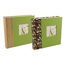 BorderTrends Rococo Spots & Lines 160-Pocket Photo Albums, Green (Set of 2)