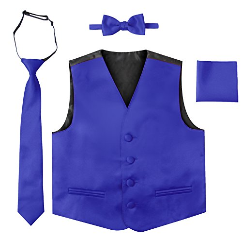 Luca Gabriel Toddler Boys' 4 Piece Formal Satin Vest Set - Royal Blue - 10