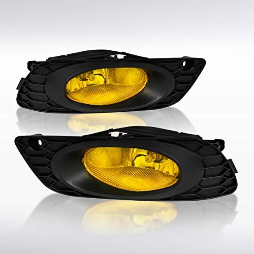 (Autozensation For Honda Civic 4DR Sedan Yellow Amber Fog Lights Bumper Lamps+Switch)
