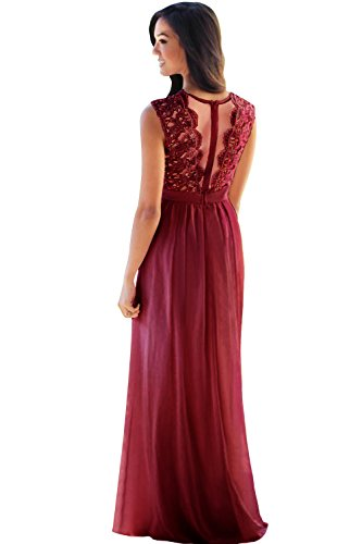 MisShow Lace Chiffon Bridesmaid Dresses Country Style 2017 Sheer Long Prom Evening (Chiffon Lace Evening Gown)