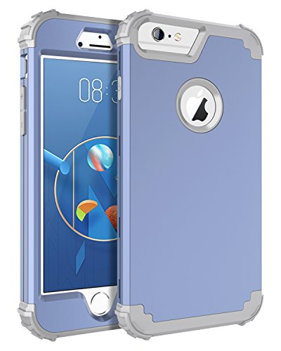 BENTOBEN iPhone 6 Plus Case, iPhone 6S Plus Case, Hybrid Heavy Duty Rugged PC Shockproof Silicone Cover Full Body Protective Case, Coral Blue