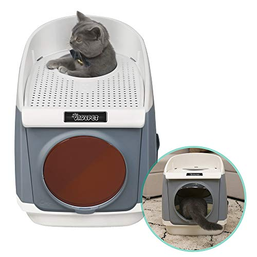 DADYPET Cat Litter Box Kitty Litter Box Free Cabin Cat Washroom Double-Door Design Top-Entry Front-Entry Configurable with Ergonomic Large Cat Litter Scoop Gray