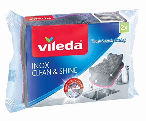 Vileda Schuurspons Inox Clean & Shine, 2 Stuk
