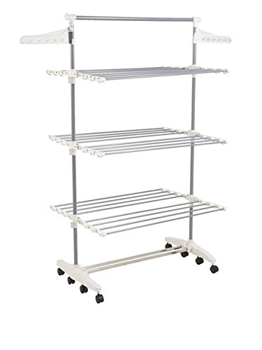 8 Transitions Stainless Rolling Steel Clothes Drying Rack, D