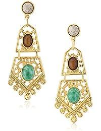 Bohemian Fligree Stone Drop Earrings
