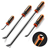 Pry Bar Set, Heavy Duty Pry Bar 4-Piece Mechanic Hand Tools By Dicfeos, Thicker Strike Cap Handle, Black Orange