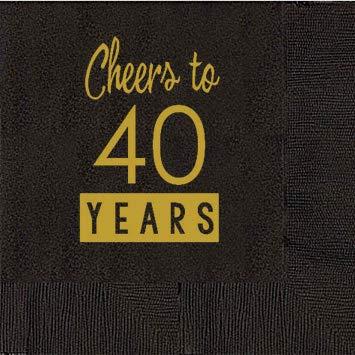 40th cumpleaños negro servilletas de cóctel - Cheers a 40 ...