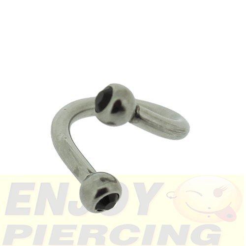 Piercing Spirale Bille Cristal Noir 1,2x6mm
