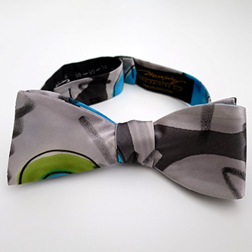 100% Silk Hand-Painted Hand-Made Men's Self Tie Bow Tie ''Fasan'' Art to Wear by Murphyties by Murphyties Inc.