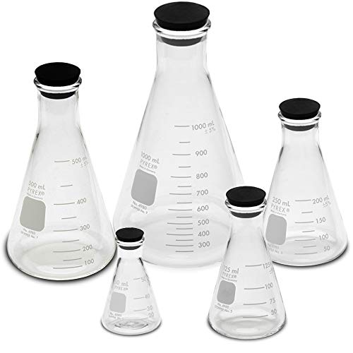 Corning Pyrex #4980-PACK(RS), Narrow Mouth Erlenmeyer Flask Set with Rubber Stoppers, 5 Sizes - 50, 125, 250, 500, 1000ml (Flask 250ml Erlenmeyer Narrow Mouth)