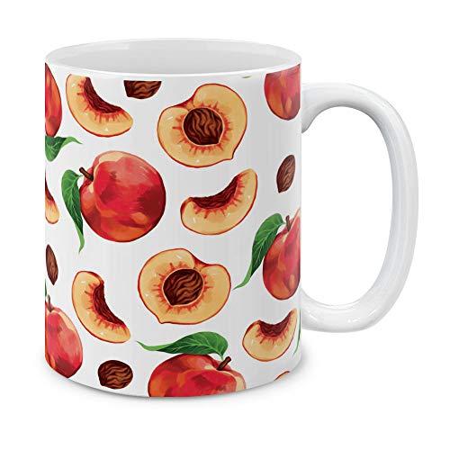 MUGBREW 11 OZ Coffee Mug Fruits Vegetables Kitchenware Designs, Red Pink Peaches Pattern