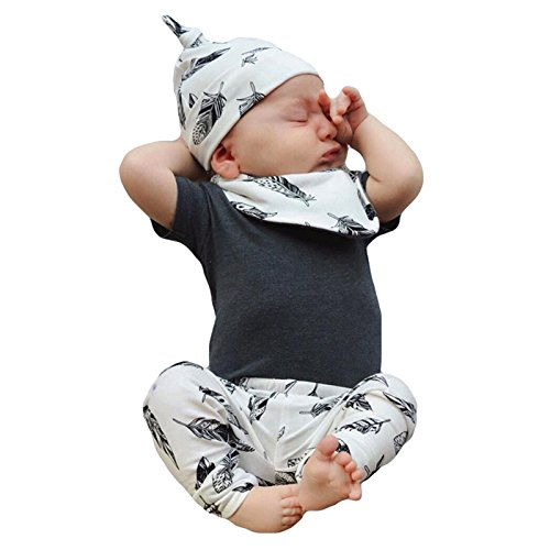 Derouetkia 4Pcs Newborn Baby Boys Girls Short Sleeve Gray Tops Leaves Print Pants Hat Bibs Outfits Set (70(6-9 Months))