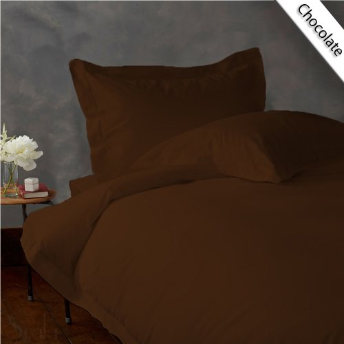 UPC 889318163092, New Luxurious 300 Thread Count 3PC Duvet Set in Solid Chocolate King 100% Egyptian Cotton