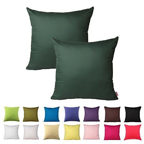 (Queenie - 2 Pcs Solid Color Cotton Decorative Pillowcase Cushion Cover for Sofa Throw Pillow Case Available in 14 Colors & 5 Sizes (16 x 16 Inch (40 x 40 cm), Hunter Green))