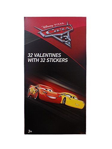32 Disney Cars 3 Movie Valentine Day Sharing Cards with Stickers