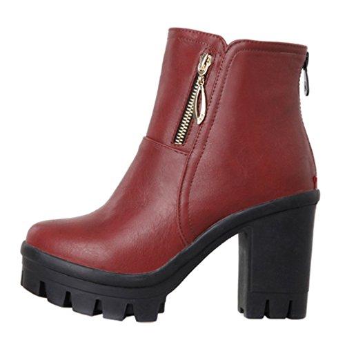 Enmayer Womens Plattform Rund Tå Zip Blockera Hög Klack Festklänning Boots Röd