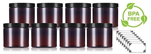 Amber Large 16 oz PET Plastic (BPA Free) Refillable Jar - (8 pack) + Labels
