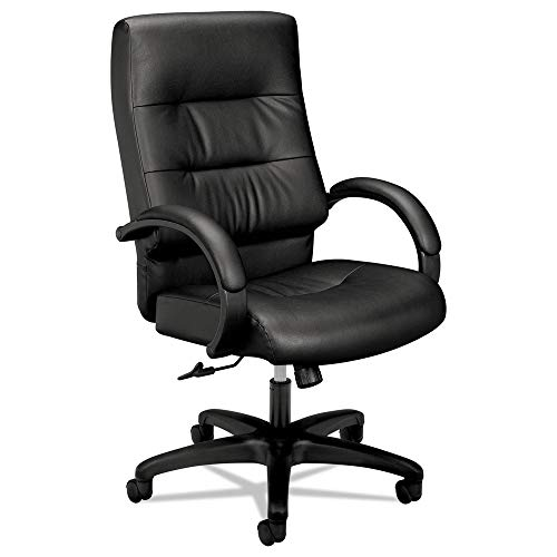 (HON Client Leather Executive Chair - High Back Armed Office Chair for Computer Desk, Black)