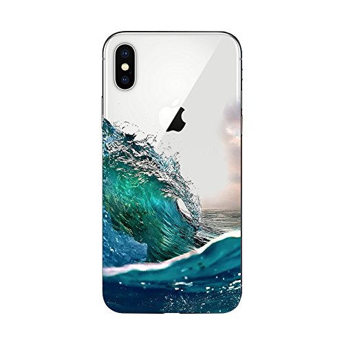 (iPhone X Case/iPhone Xs Case,Blingy's Cool Scenic Style Transparent Clear Protective Soft TPU Rubber Case for iPhone X and iPhone Xs (Ocean Splash))