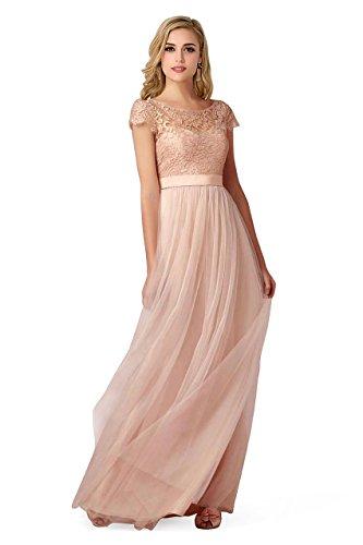 Babyonlinedress Vestido largo para fiesta de noche y para boda estilo A line y elegante escote redondo manga corta sin espalda alta cintura con cinturón y un lazo por detrás Rosa