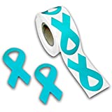 Ovarian Cancer Teal Ribbon Stickers - Large Ribbon (250 Stickers)