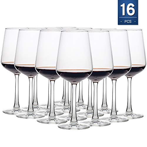 16 Ounce Wine Glasses Set of 16, Lead-Free Cups, Elegant Party Drinking Glassware, Dishwasher Safe