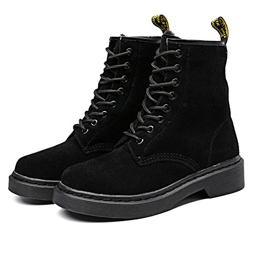 Leather Boot Size Or Combat with Cow Lace up Martin Shoes Black Women Mens Ankle Newbestyle Suede Plus qYxtOw