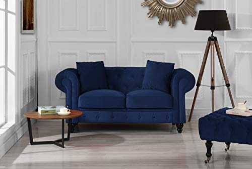Divano Roma Furniture Classic Modern Scroll Arm Velvet Chesterfield Love Seat Sofa (Blue) (Sofa Chesterfield Blue)