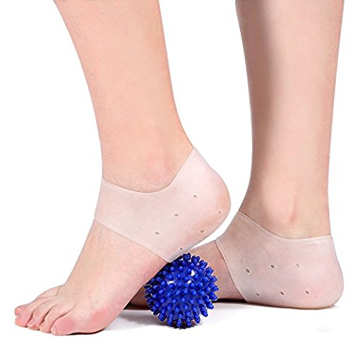 1 Pair of Gel Heel Compression Sleeves Silicone Heel Care Socks with 1 Spiky Massage Ball for Plantar Fasciitis Pain Relief Cracked Heel Protection Fits in Shoes