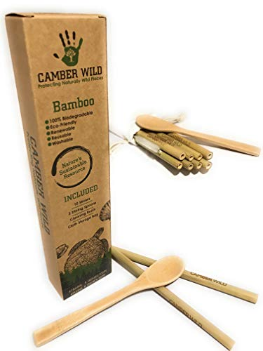 Bamboo Reusable Drinking Straw and Spoon Set | Biodegradable, Eco-Friendly Plastic Alternative | Great for Tumbler, Travel Mug, or Cocktails | 10 Straws, 2 Spoons, Cleaning Brush, Storage Bag ()