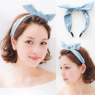 usongs Korea imported genuine light blue denim tannins rabbit ears bow hair bands issuing press hair headband hair accessories