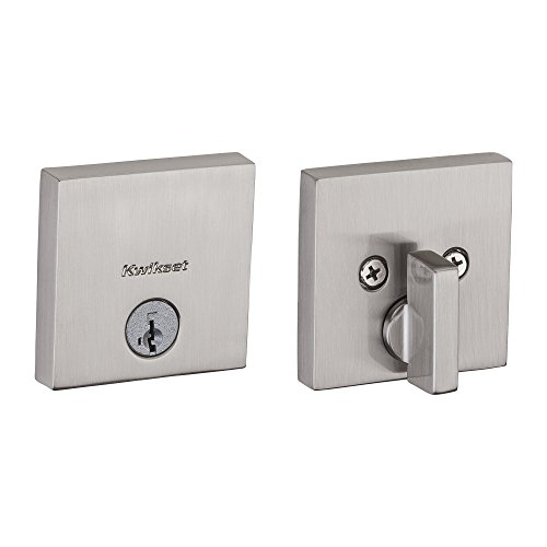 (Kwikset 92580-005 258 Downtown Low Profile Slim Square Modern Contemporary Single Cylinder Deadbolt Door Lock featuring SmartKey Security in Satin Nickel)