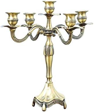 ヨーロッパのレトロノスタルジックローソク5つのヘッズ1.7〜2センチメートルの直径を持つロングキャンドルに適した合金燭台ブロンズ