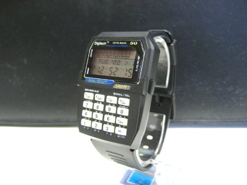 VINTAGE RETRO BLACK DATA BANK ILLUMINATOR DIGITAL MULTIFUNCTION 30 MEMORY SPORT WATCH