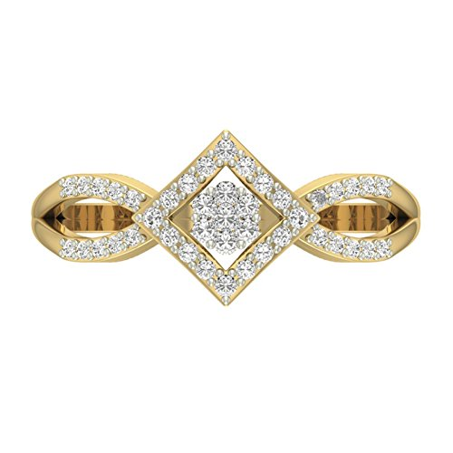 Or jaune 14 K 0,29 CT TW Round-cut-diamond (IJ | SI) en diamant