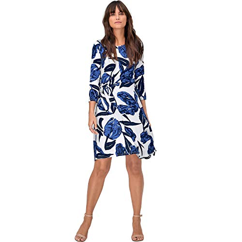 ellos Women's Plus Size Side-Tie Knit Dress - 22/24, White Leaf Print