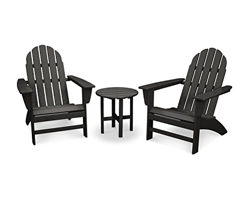 Piece Outdoor Adirondack Chair Set with Table Black ()
