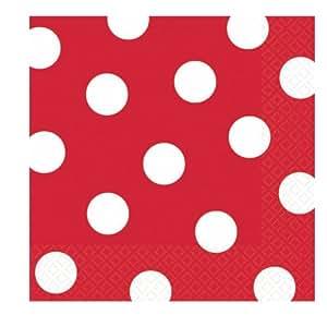 Red Polka Dot Beverage Napkins (36 count)