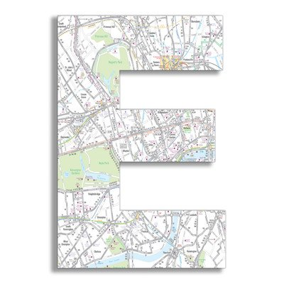 Stupell Home Décor London Map 18 Inch Hanging Wooden Initial, 12 x 0.5 x 18, Proudly Made in USA by Stupell Industries