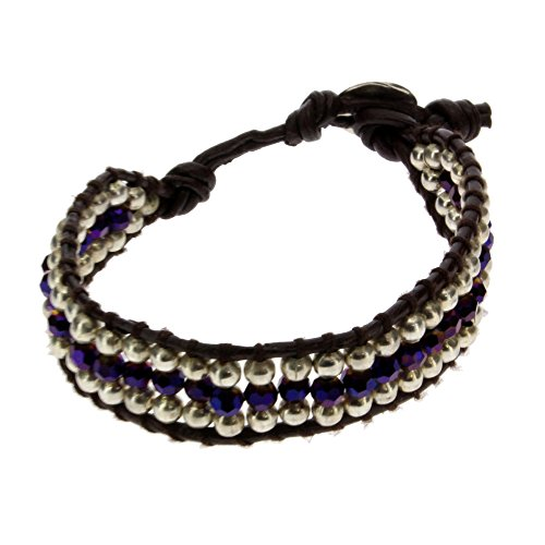 Purple & Silver Beaded Alloy Bracelet Wrist Jewelry Waxed Wristband Bali Jewelry