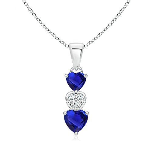 - Dangling Tanzanite and Diamond Triple Heart Pendant in 14K White Gold (5mm Tanzanite)