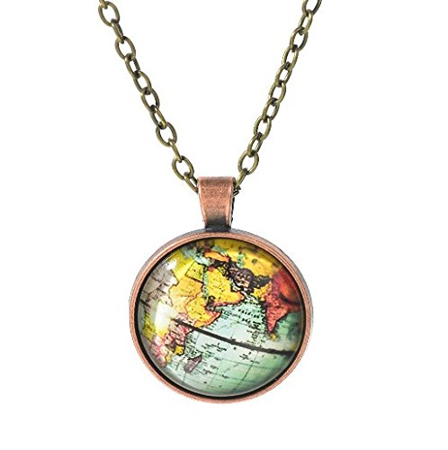 St patricks day jewelry st patricks day accessories st 1pcs latest styles glass dome vintage globe necklace vintage world pendant world map jewelry gumiabroncs Image collections