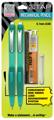 Zebra Z-Tap Mechanical Pencil 0.7mm, 2 Pack Starter Kit, Teal