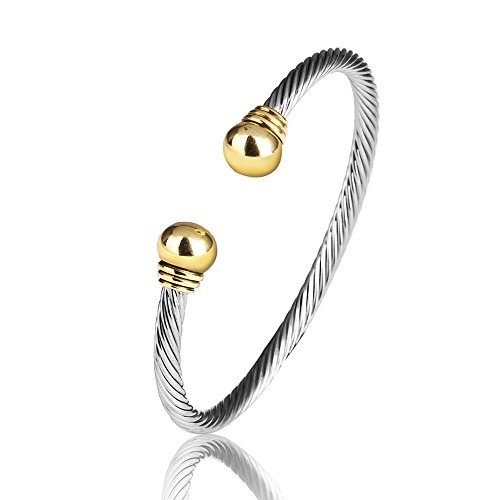 UNY Jewelry European American Fashion Vintage Cables Rhodium 2 Tone Plated Bracelet Design