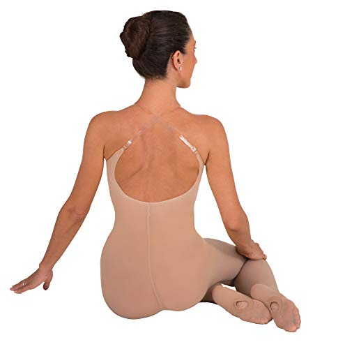 (Body Wrappers A91 TotalSTRETCH Convertible Foot Camisole Body Tights, Suntan, Small/Medium)