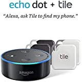 Echo Dot (2nd Gen) - Black with Tile Mate with Tile Pro with Replaceable Battery - 4 pack (2 x Black, 2 x White) - NEW