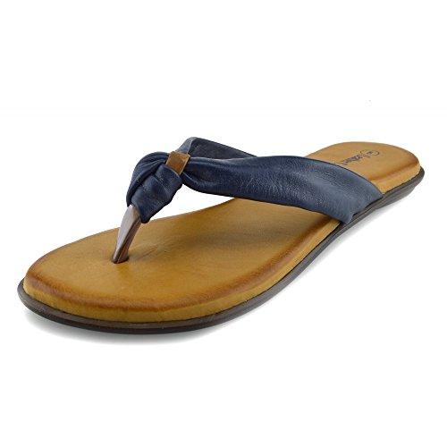 Kick Footwear Womens Fashion Summer Beach Flip Flops Sandals Natural Leather Shoes Navy-f0930 C4bBNE
