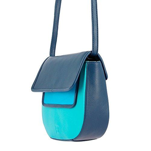 DUDU Borsa donna a Tracolla in Pelle Vera Nappa Colorata Multicolor con Patta e chiusura a bottone magnetico Blau