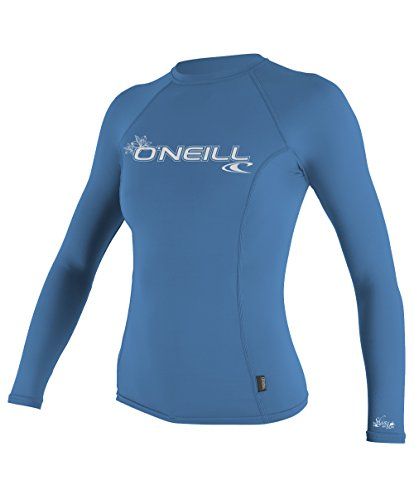 O'Neill UV Sun Protection Women's Basic Skins Long Sleeve Crew Rashguard, Riviera, - Skin Second Wetsuits